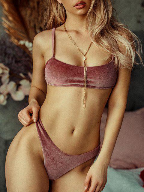 women ZAFUL Velvet High Leg Bikini Set - ROSE GOLD S Mobile