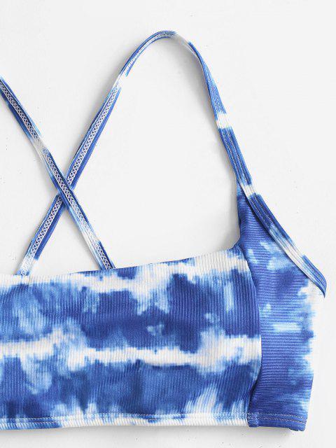 ZAFUL Maillot de Bain Bikini Côtelé Teinté à Fente Latérale - Bleu de Soie L Mobile