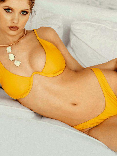 fashion Push Up Plunge Bathing Suit - BRIGHT YELLOW M Mobile