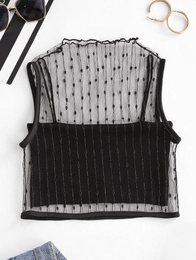 Mesh Metallic Thread Tank Top And Cami Knit Top Set - Black
