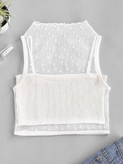 Mesh Metallic Thread Tank Top And Cami Knit Top Set - White
