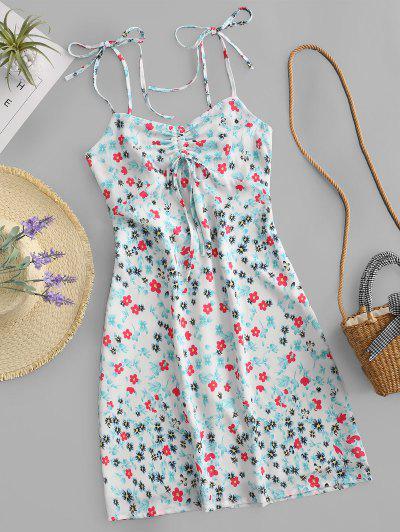 Gebundenes Schulter Ausschnitt Ditsy Blumen Kleid - Multi-a L