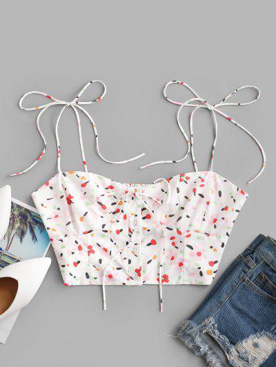 Tie Shoulder Button Up Ditsy Floral Cami Top - White L