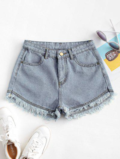 Pockets Frayed Hem Denim Cutoff Shorts - Light Blue M