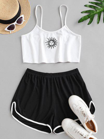 Sun Embroidered Contrast Piping Two Piece Set - White S