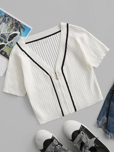 Camiseta Cuello V Cremallera - Blanco M