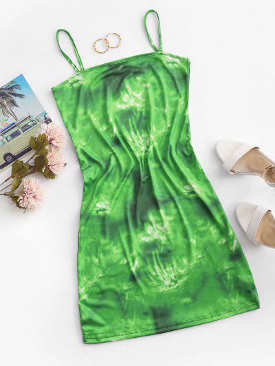 Tie Dye Cami Mini Dress - Green Snake M