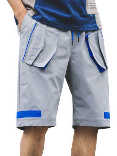 Multi-pocket Color Spliced Cargo Shorts - Light Gray L