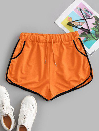 Drawstring Running Shorts - Orange S
