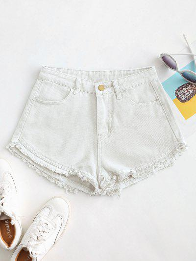 Pockets Frayed Hem Denim Cutoff Shorts - White Xl