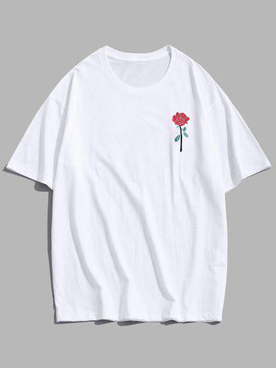 ZAFUL Rose Embroidery Short Sleeve T-shirt - White M