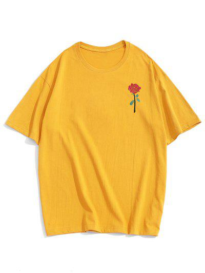 ZAFUL Rosen Stickerei Kurzarm T-Shirt - Gelb L