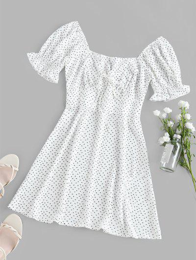 ZAFUL Bedrucktes Dichter Ärmel Empire Taille Kleid - Weiß Xl