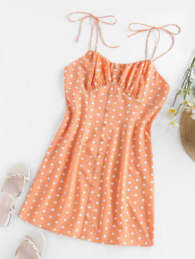 ZAFUL Polka Dot Tie Sundress - Orange L