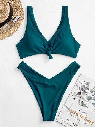 ZAFUL Neon V-cut Knot Bikini Swimsuit - Păun Albastru S