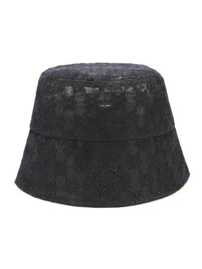 Lace Floral Sun Hat - Black