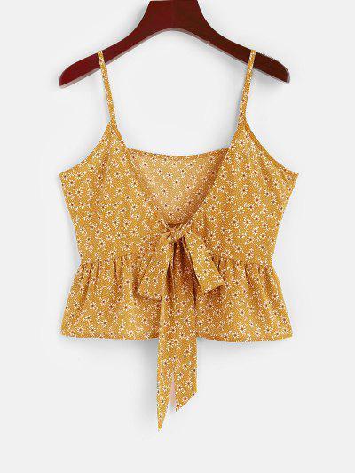 ZAFUL Peplum Ditsy Impressão De Laço Ditsy Camiseta - Amarelo S
