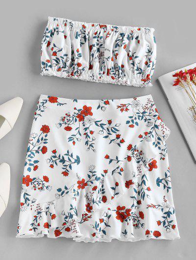 ZAFUL Flower Print Strapless Ruffle Knee Length Skirt Set - White M
