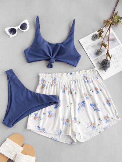 ZAFUL Ribbed Knot Sunflower Three Piece Bikini Swimsuit - Blue Koi M