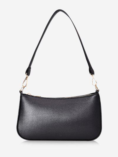 Solid Rectangle Shoulder Bag - Black