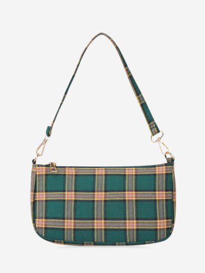 Canvas Checkered Mini Shoulder Bag - Medium Sea Green