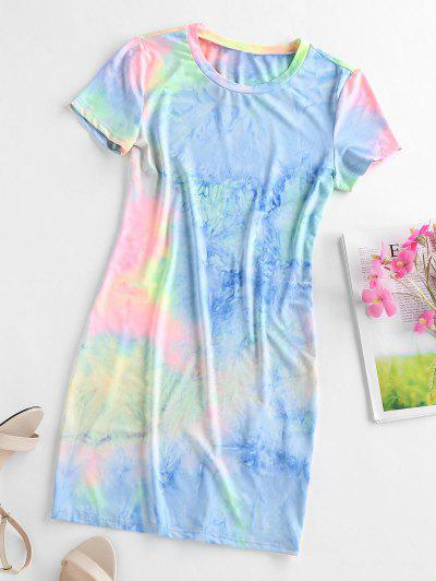 ZAFUL Tie Dye Bodycon Mini Dress - Multi-a M