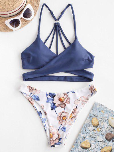 ZAFUL Floral Strappy Wrap Bikini Swimsuit - Blue Koi S