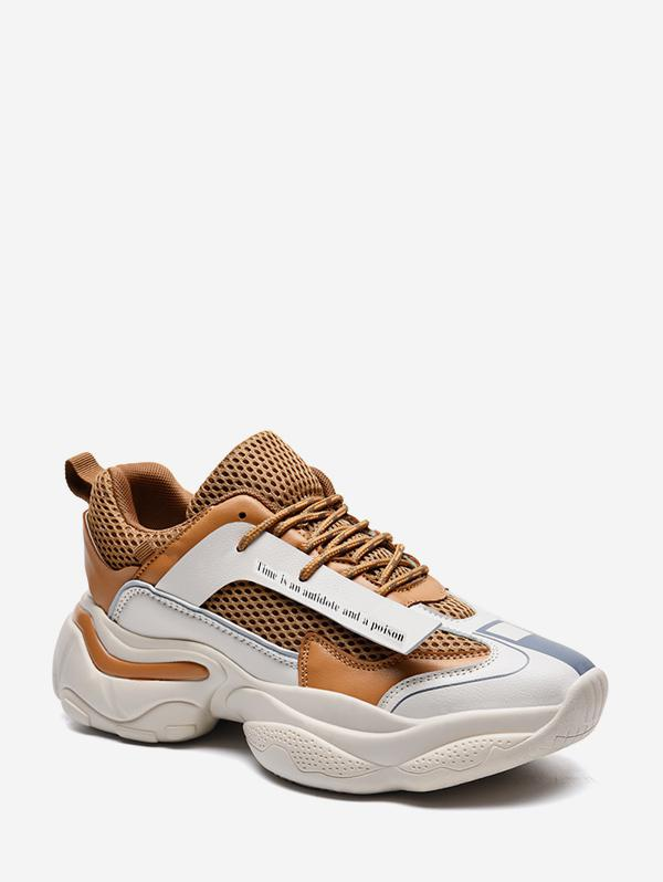 Letter Print Mesh Chunky Dad Sneakers