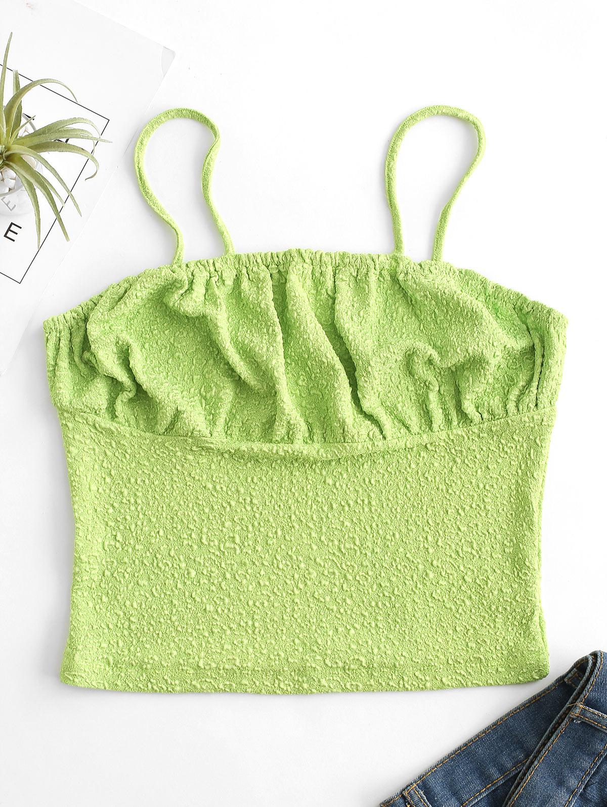 Solid Textured Ruched Cami Top thumbnail