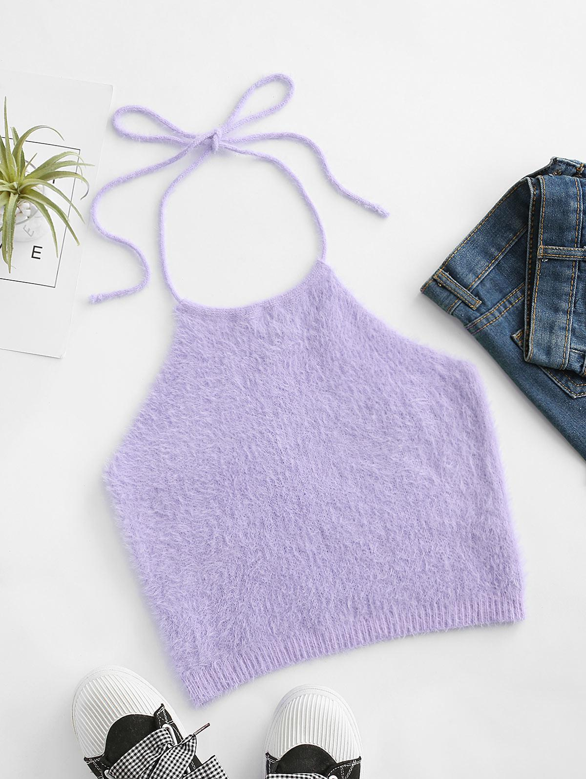 Fuzzy Knitted Halter Tank Top
