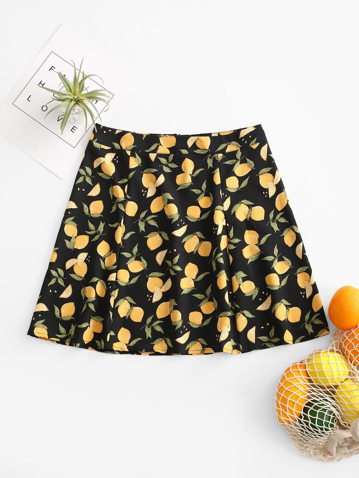 Back Zipper Lemon Mini Skirt
