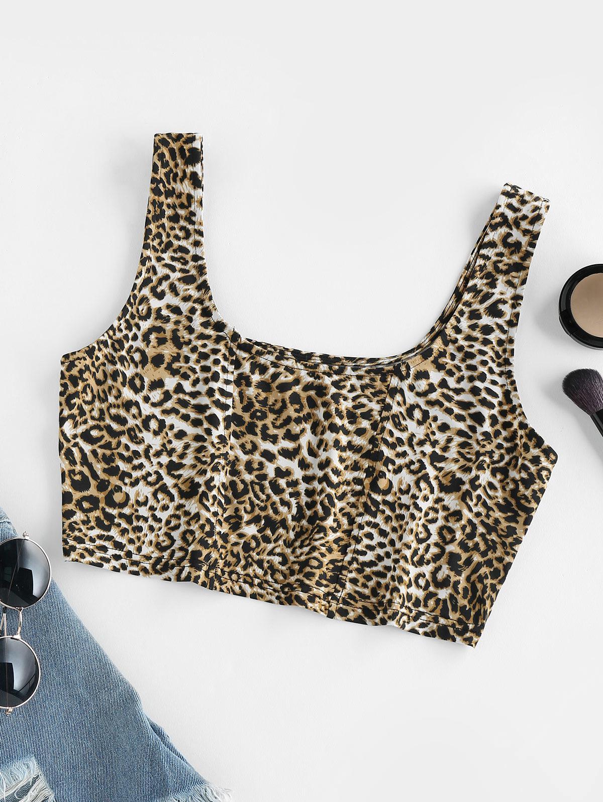ZAFUL Leopard Print Crop Top
