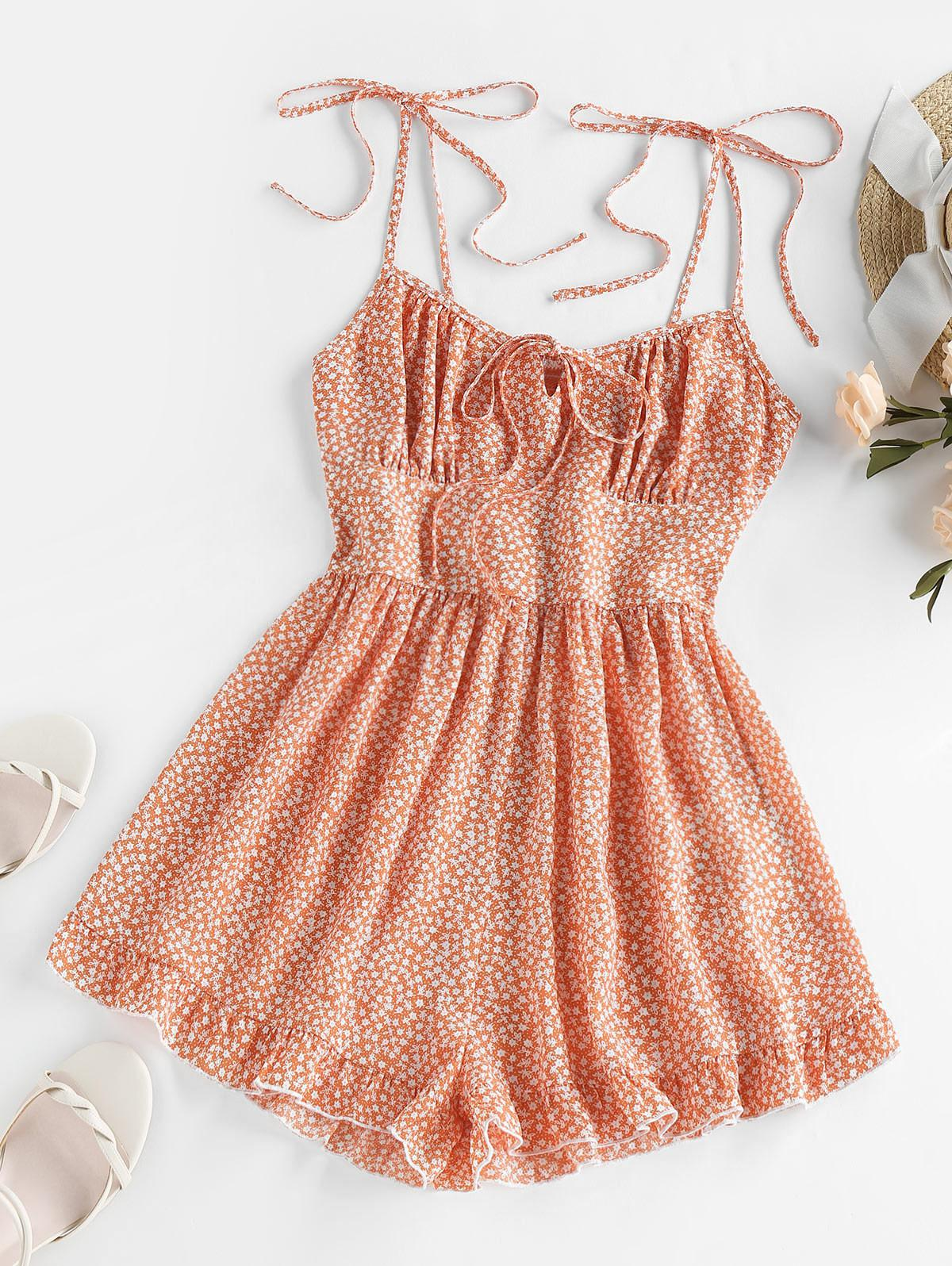 ZAFUL Flounce Tie Shoulder Tiny Floral Romper