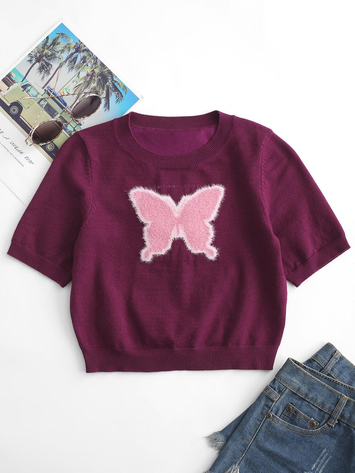 Crew Neck Fuzzy Butterfly Knitted Tee