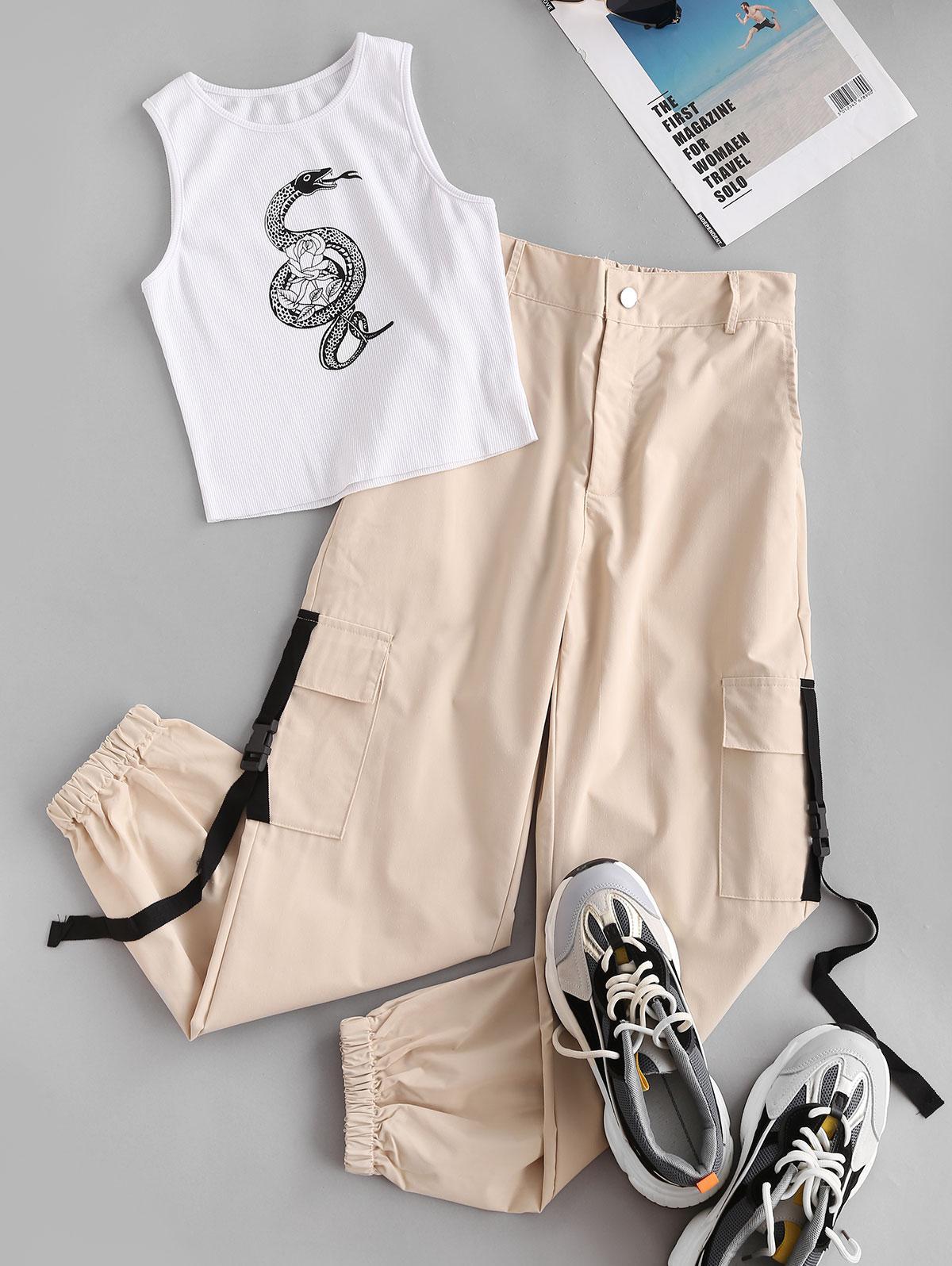 Snake Rose Print Ribbed Jogger Cargo Pants Set