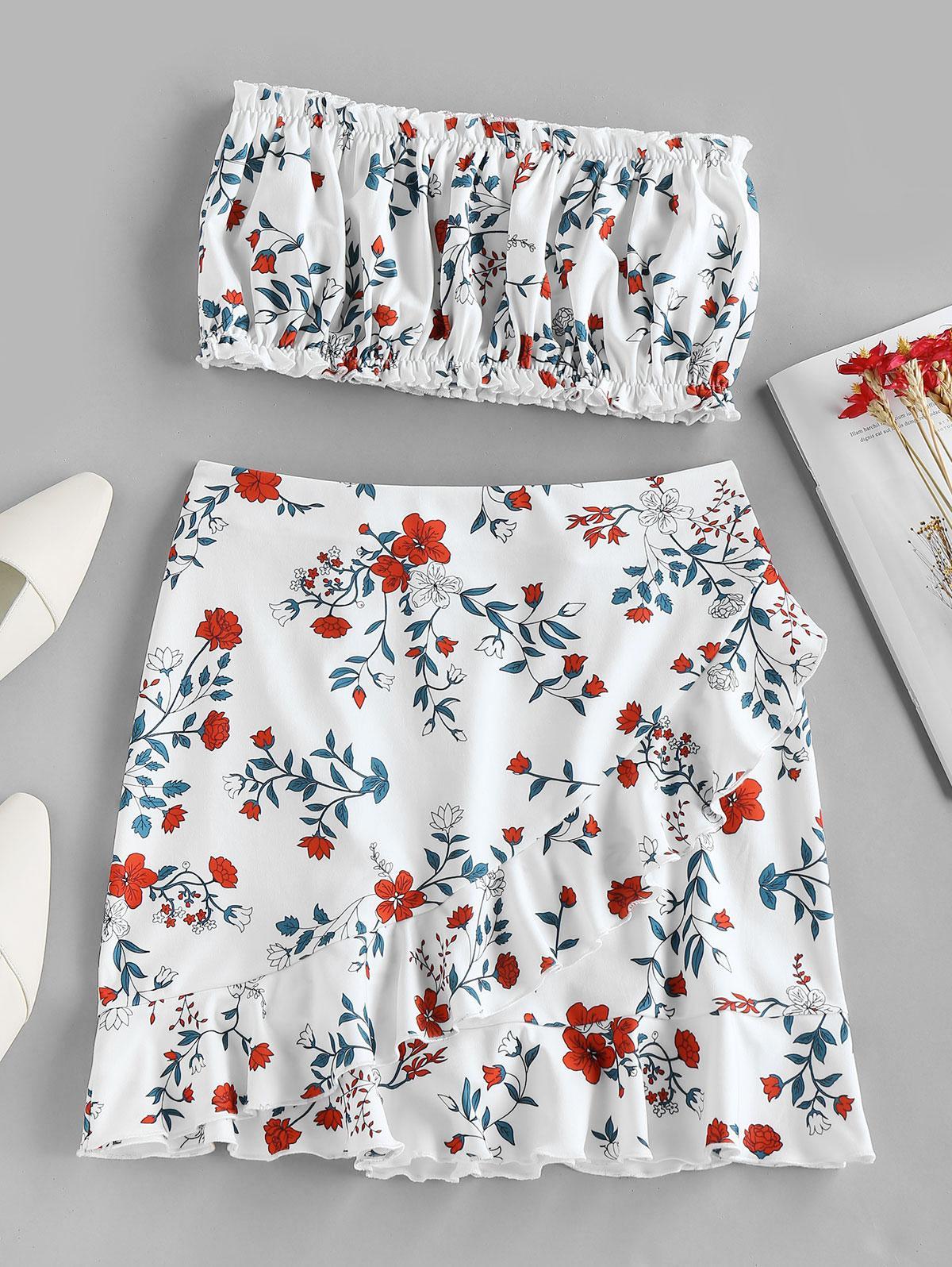 ZAFUL Flower Print Strapless Ruffle Knee Length Skirt Set