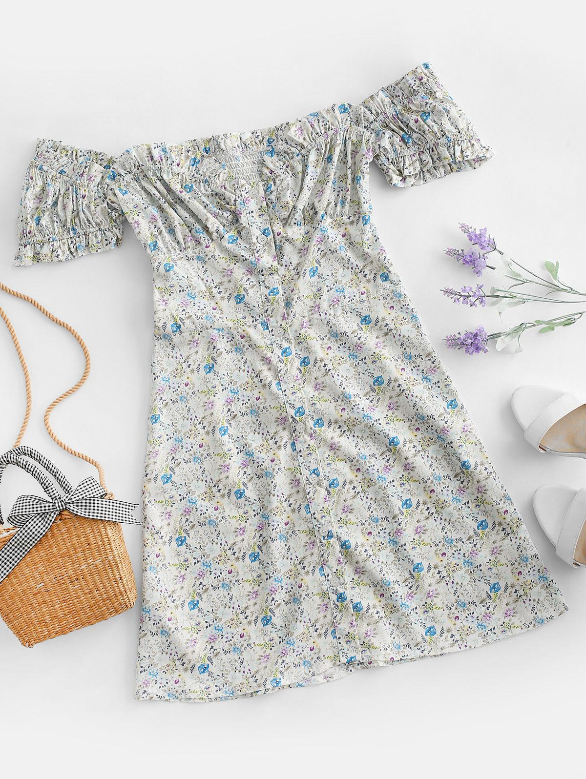 Button Up Puff Sleeve Ditsy Floral Dress