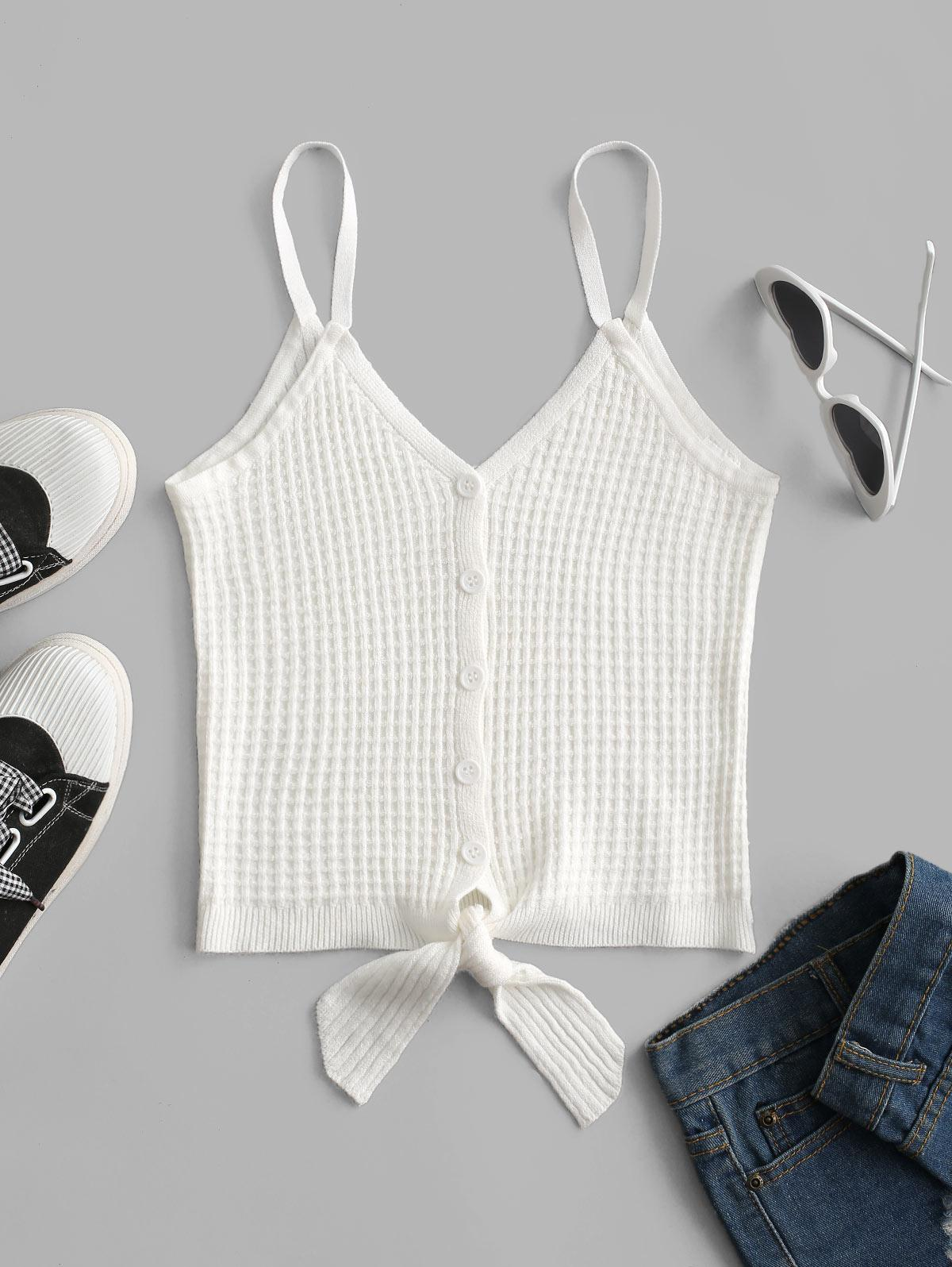 Tie Front Button Up Knit Tank Top