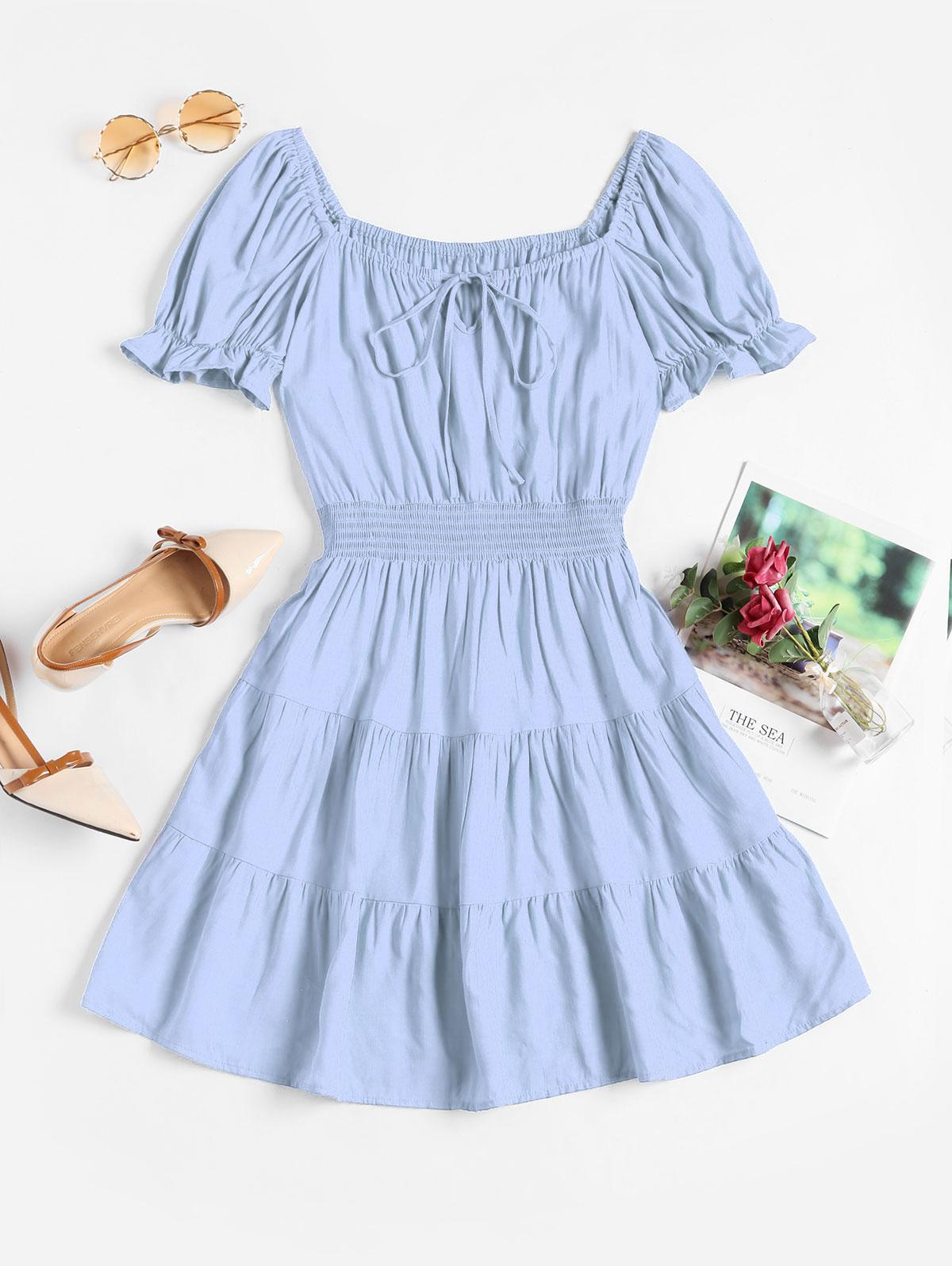 Smocked Waist Tie Collar Mini Milkmaid Dress