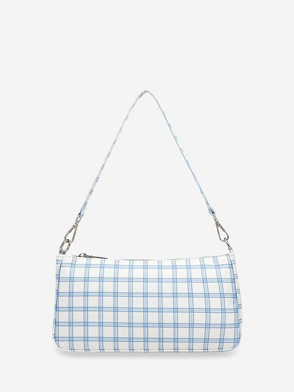 Grid Print One Shoulder Bag