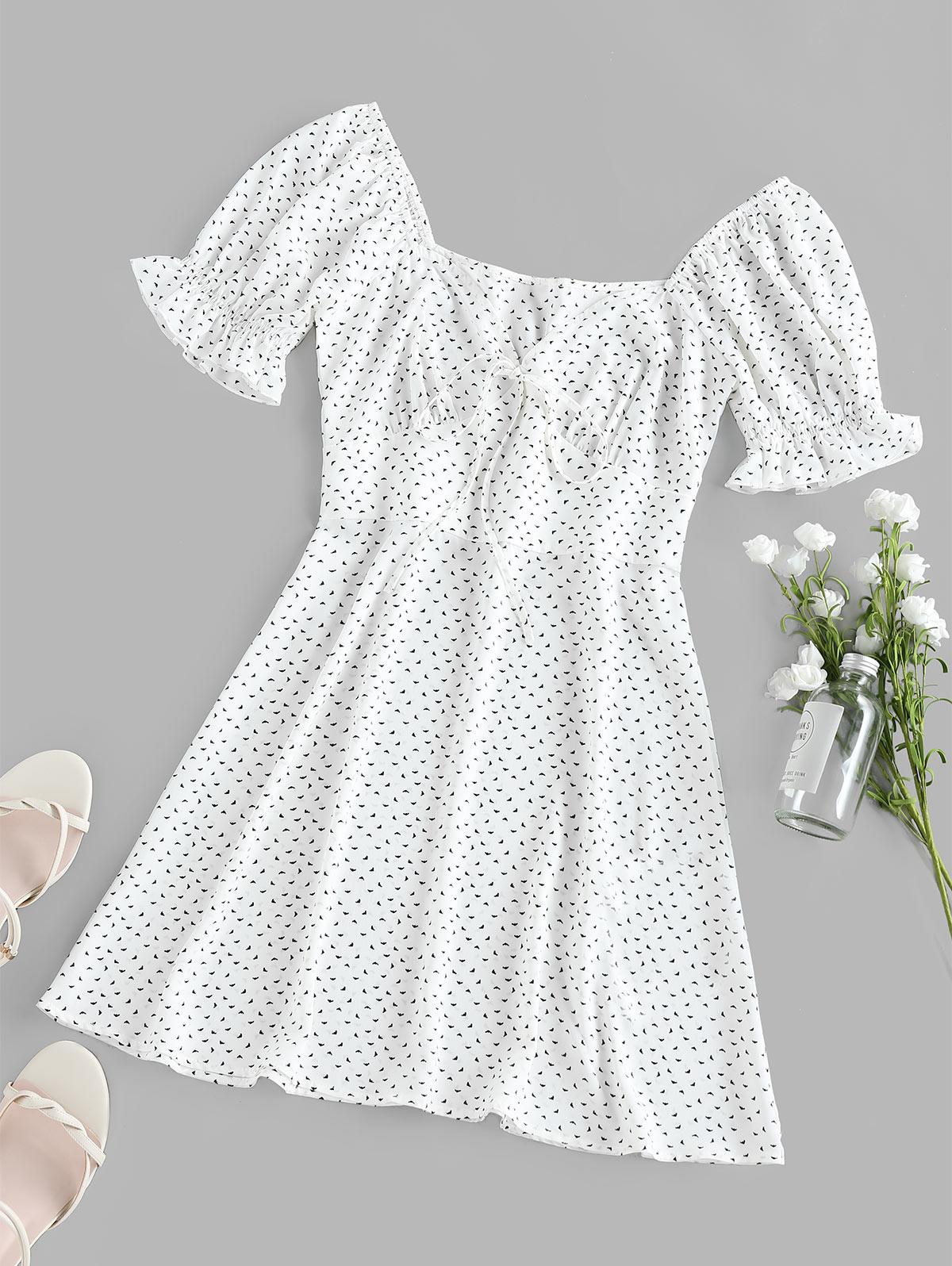 ZAFUL Printed Poet Sleeve Empire Waist Dress
