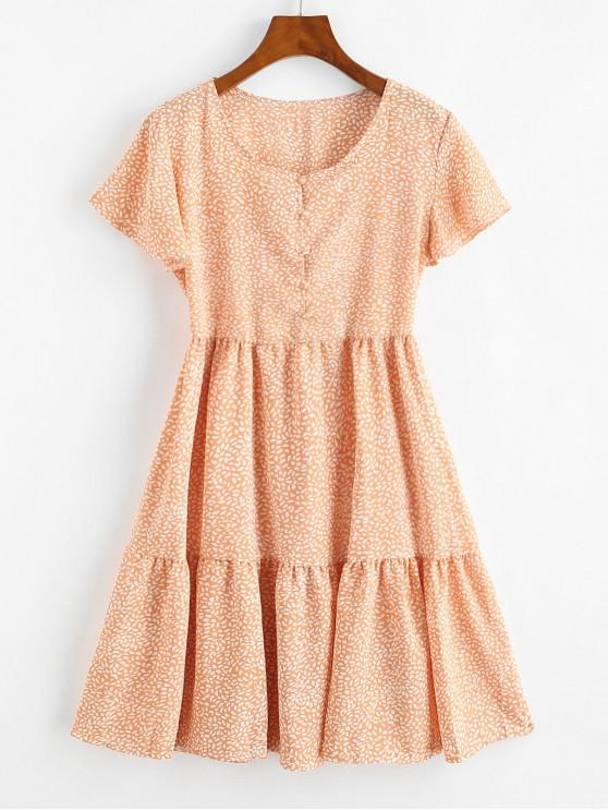 fancy Button Loop Spotted Printed Mini Dress - LIGHT SALMON M