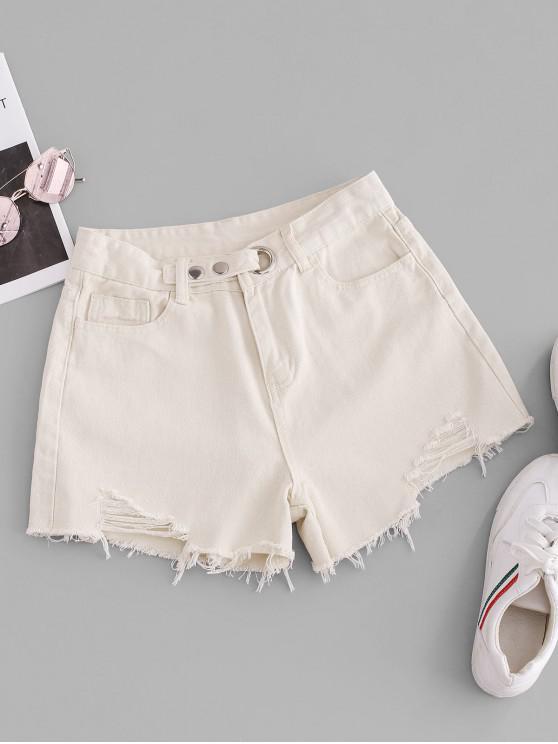 new Grommet Frayed Hem Ripped Cutoff Shorts - MILK WHITE M