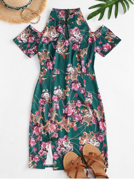 latest Flower Chain Print Cold Shoulder Slit Mandarin Dress - GREEN S