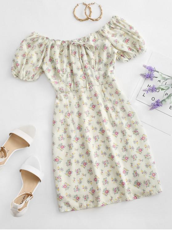 chic Tie Collar Ditsy Floral Mini Dress - MULTI-A L