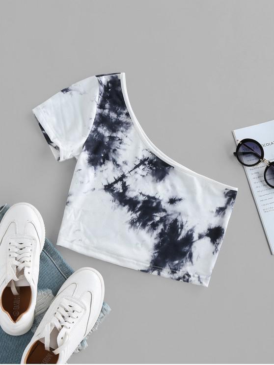 new ZAFUL Tie Dye One Shoulder Crop T-shirt - MULTI M