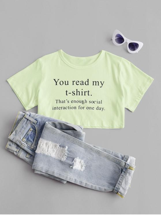 women You Read My T-shirt Graphic Crop Tee - GREEN YELLOW XL