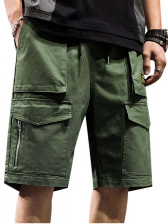 Letter Pattern Zipper Pocket Cargo Shorts - الجيش الأخضر M