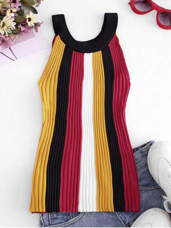 affordable Crew Neck Colorblock Stripes Knitted Tank Top - YELLOW ONE SIZE