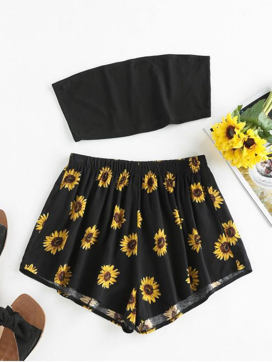 ZAFUL Sunflower Print Strapless Wide Leg Shorts Set - Black Xl